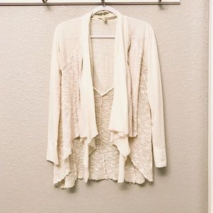 Tiny mixed knit open front waterfall cardigan